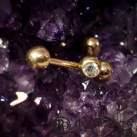Clear CZ Yellow Gold Straight Barbell