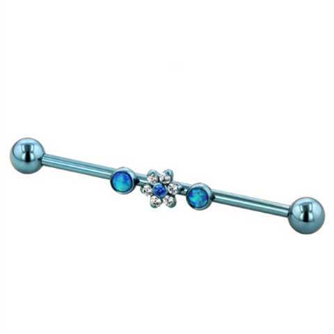 Light Blue Titanium Gemmed Industrial Bars