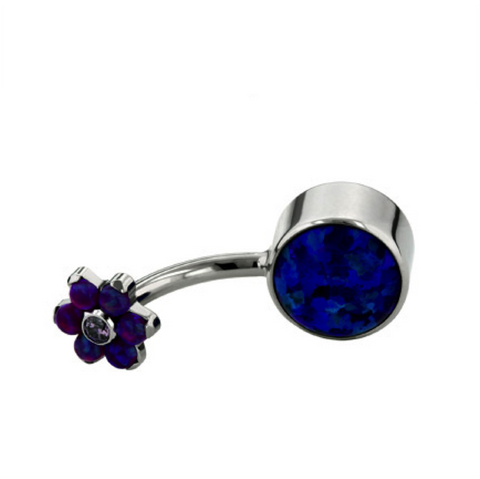 Dark Blue Opal Titanium Bezel-Set Cabochon Flower Top