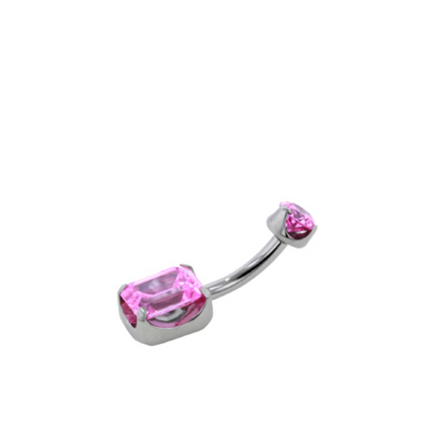 Pink CZ Stainless Steel Emerald Cut Navel Curve