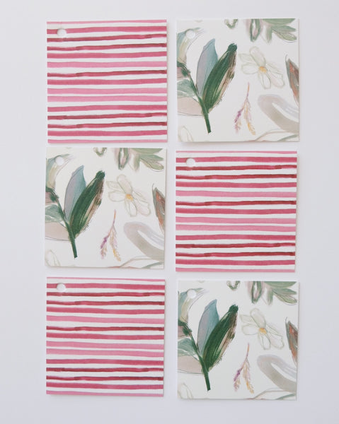 'Southern Greens + Cranberry Stripe' Gift Wrap Collection