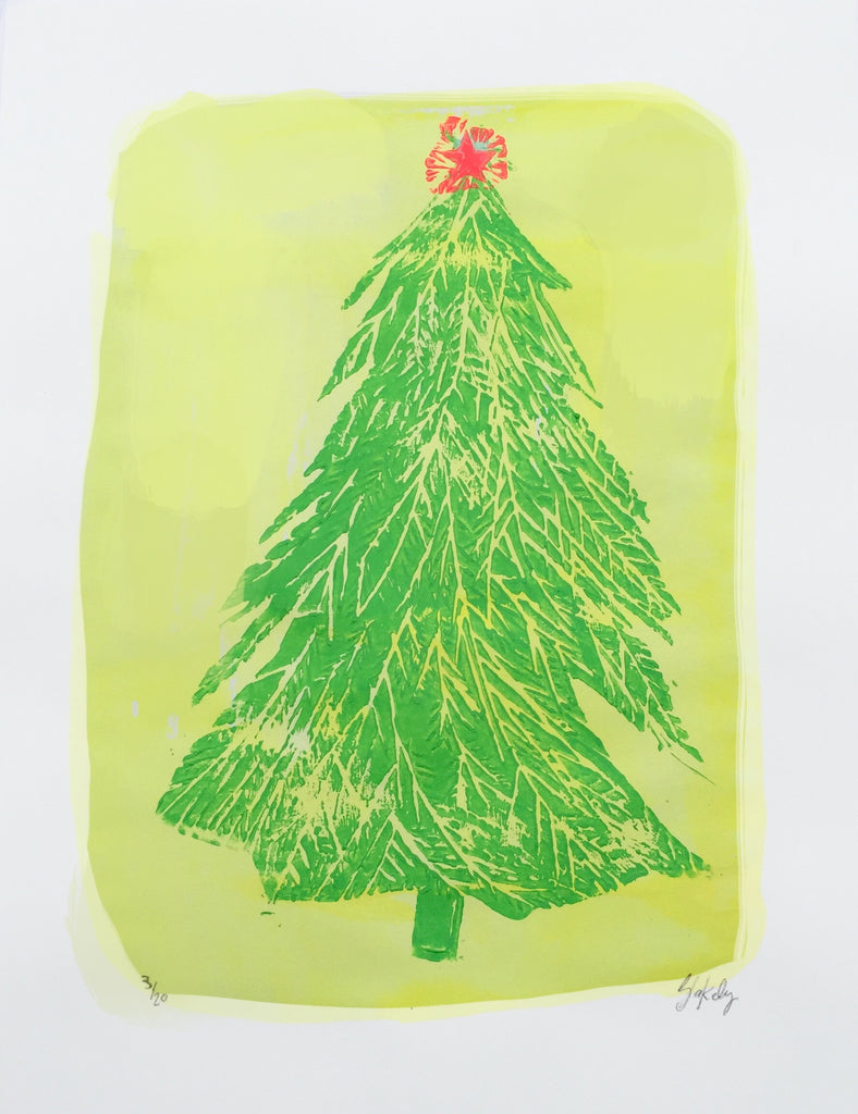 """I'm Dreaming of a Lemon-Lime Christmas"" Linocut Print"