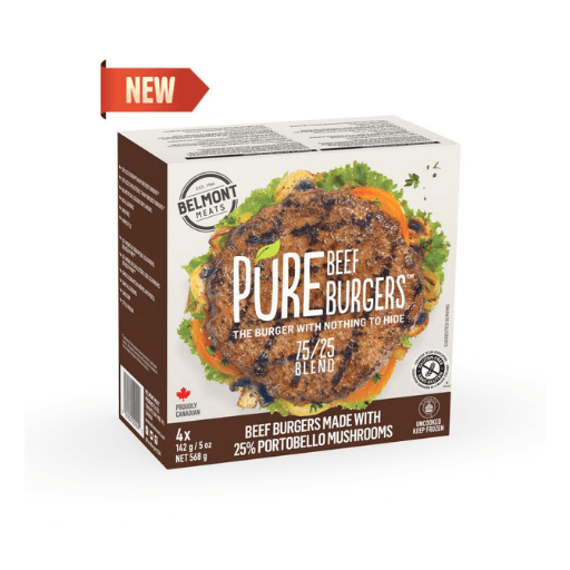 Pure Burgers, Beef 75% and Mushroom Blend 25% Burgers