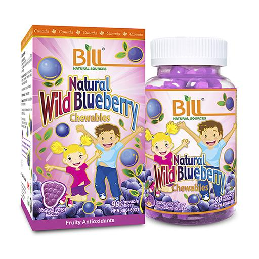 Bill Natural Wild Blueberry, Chewable, 90's tablets