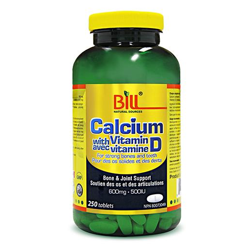 Bill Calcium 600mg with Vitamin D3 500IU, 250 tablets