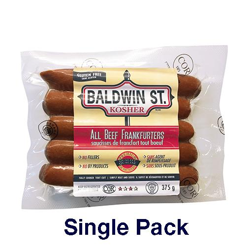 All Beef Frankfurters, Baldwin Street Kosher, Single Pack