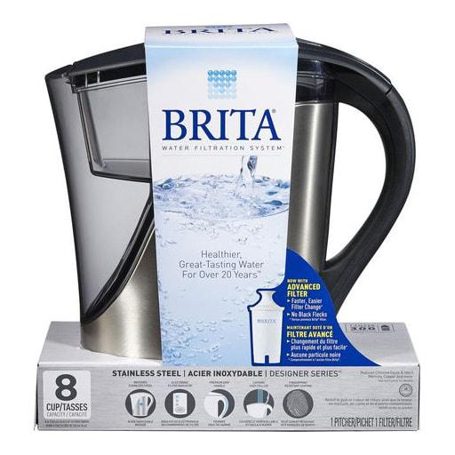 Brita Water Filtration System, Red Stainless Steel Model