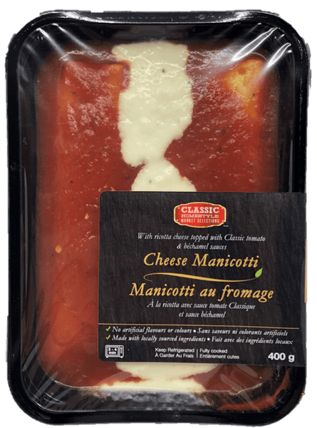 Fresh Single Serve Entrée, Cheese Manicotti