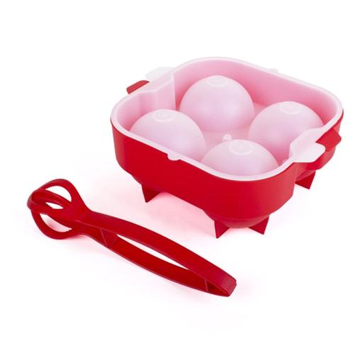 DUO XXL Ice Ball & Tulip Ice Tong, Red