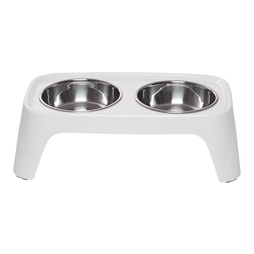 Elevated Feeder with Stainless Steel Bowls, Cool Grey, Totally Pooched