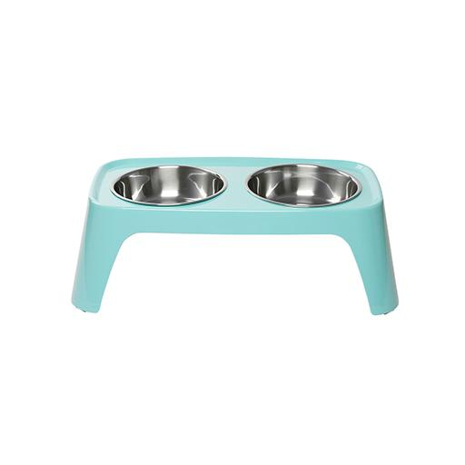 Elevated Feeder with Stainless Steel Bowls, Teal, Totally Pooched