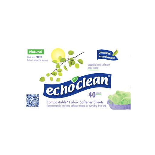 Fabric Softener Sheets, Unscented, Echoclean