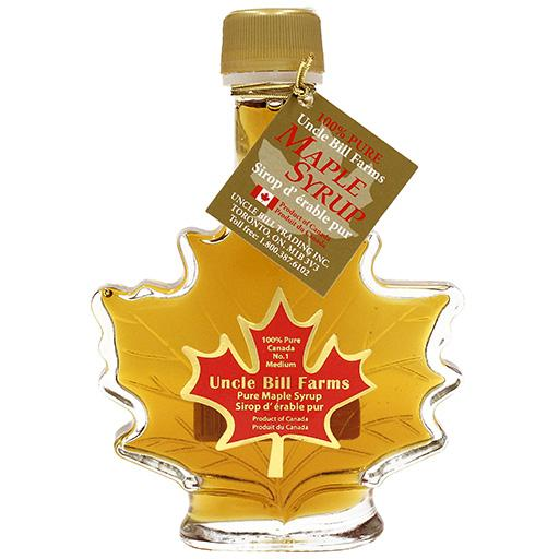 Canadian Pure Maple Syrup, Leaf Shape Bottle, 100ml, Uncle Bill Farms