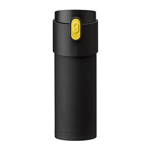 Pao Thermo Mug, Black with Yellow Button