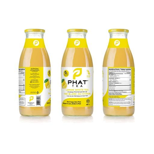 Phat Tea, Iced Tea with MCT Oil, Lemon White Tea