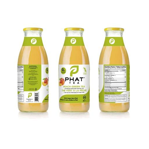 Phat Tea, Iced Tea with MCT Oil, Peach Green Tea