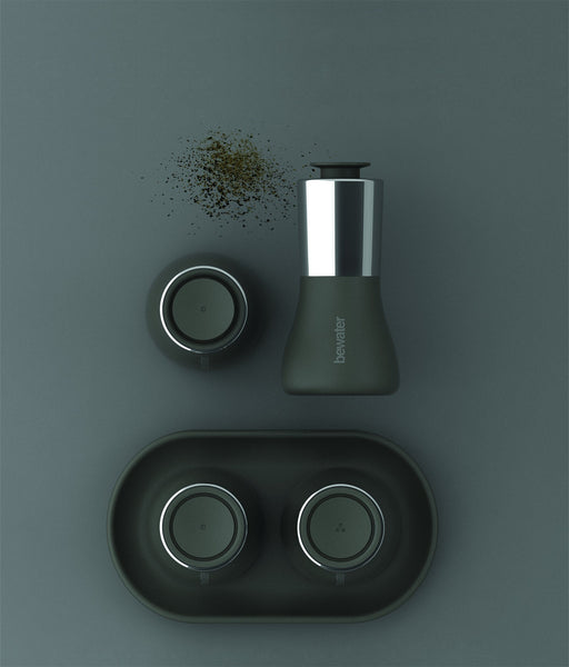 Salt & Pepper Set with Tray - Aura, Dark Gray Color