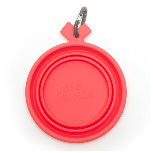 Silicone Collapsible Bowl, Coral, Totally Pooched