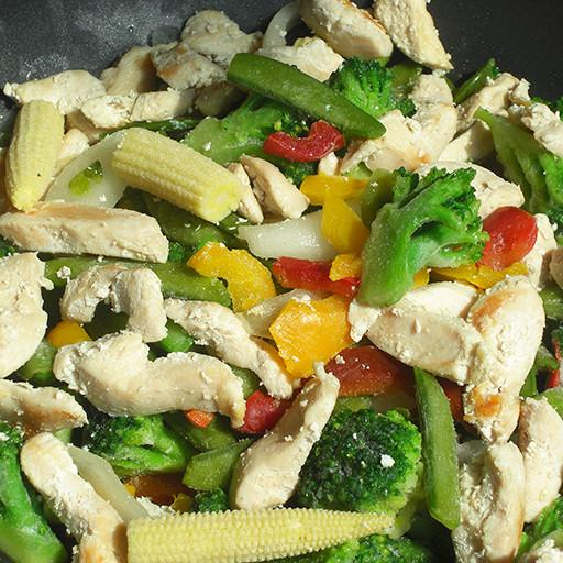 Frozen Meal Kit, Chicken Breast Strips with Stir Fry Vegetable Mix