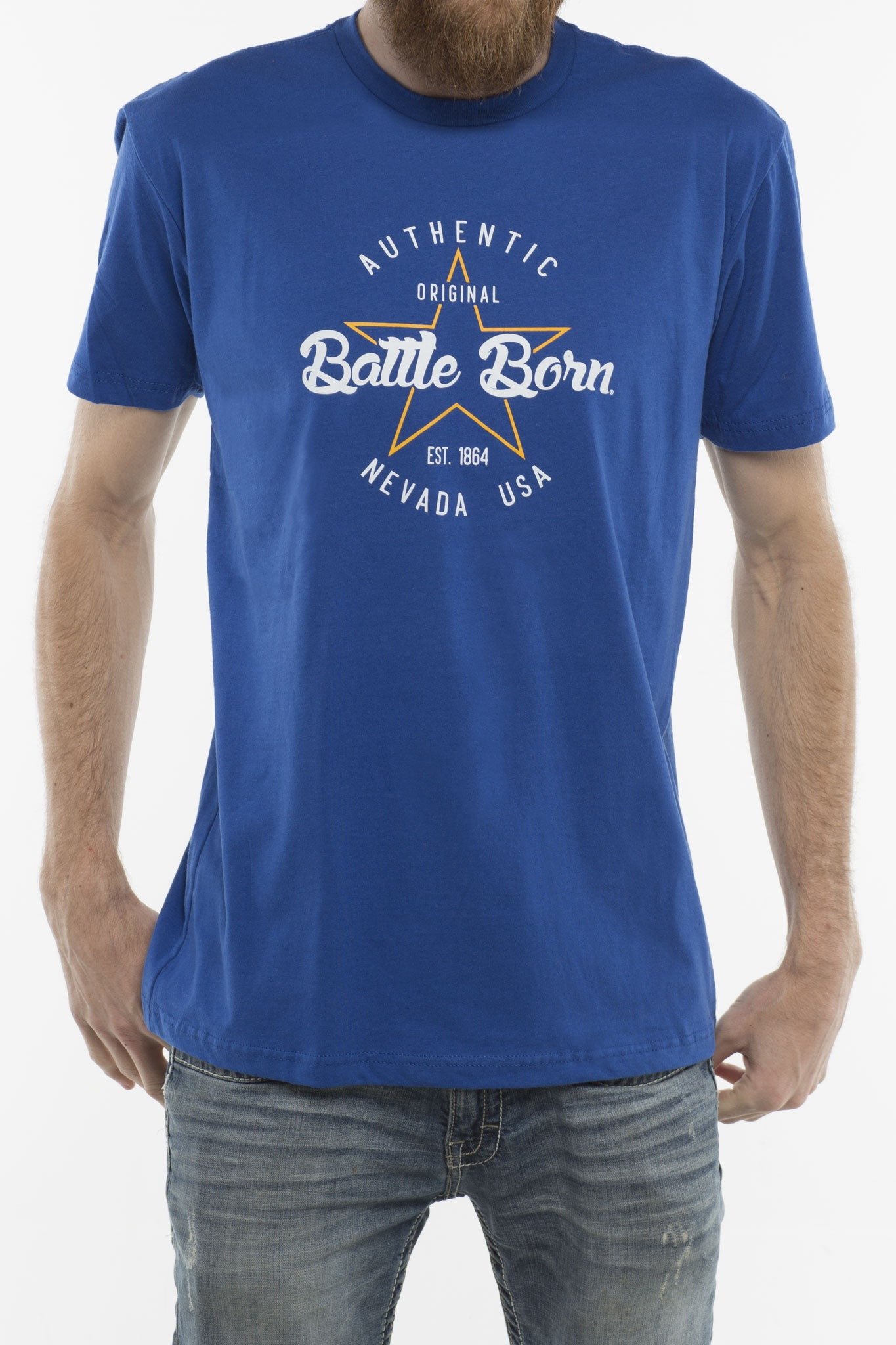 Mens Shirt: Battle Born: Authentic (blue)