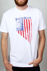 Mens T-Shirt: Battle Born Flag (White)
