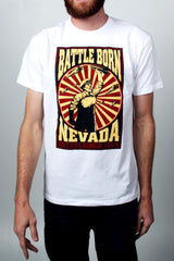 Mens T-Shirt: Battle Born Bomber (White)