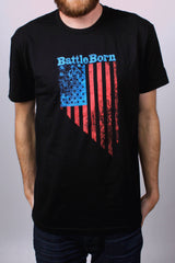 Mens T-Shirt: Battle Born Flag (Black)