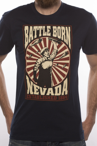 Mens T-Shirt: Battle Born Bomber (Navy)
