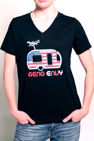 Womens V-Neck Shirt: USA Trailer (Black)