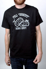 Mens T-Shirt: Full Hook Ups (Black)