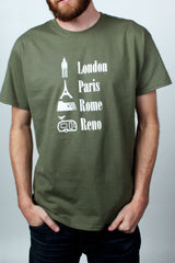 Mens T-Shirt: World Traveler (Olive)