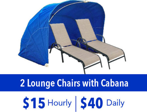 2 Lounge Chairs with Cabana Rental