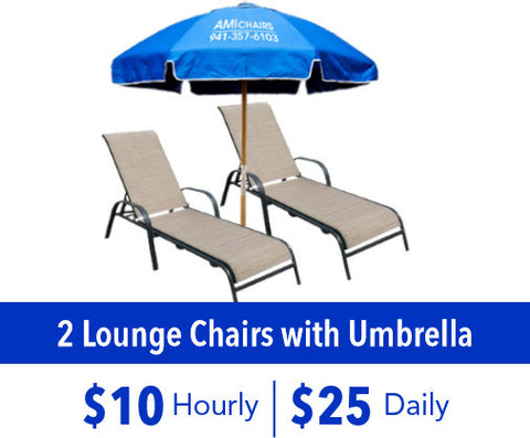 2 Lounge Chairs with Umbrella Rental