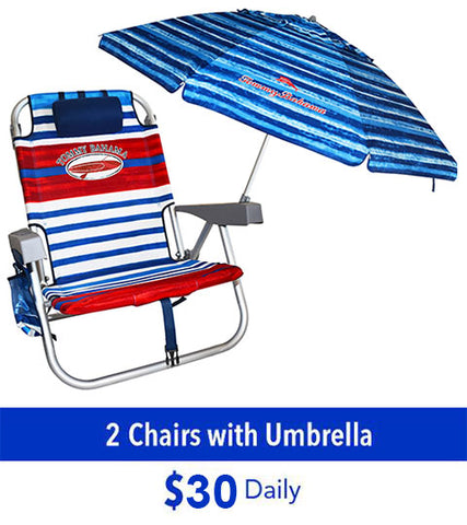 Tommy Bahama beach chair rental and umbrella