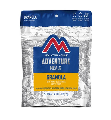 Mountain House Granola with Milk & Blueberries Freeze Dried Meal, 2 Servings, Pouch