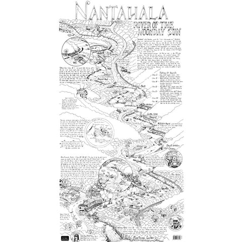 Nantahala River Whitewater Map Drawing  by William Nealy