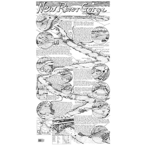 New River Gorge Whitewater Map Drawing  by William Nealy