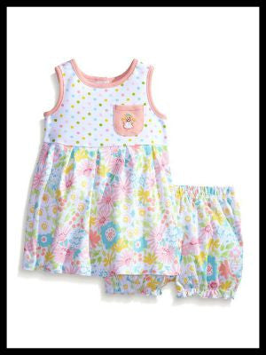 Baby-Girls Newborn Floral Print Knit Dress Set