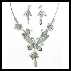 Crystal Mesh Butterfly Necklace & Earring Set