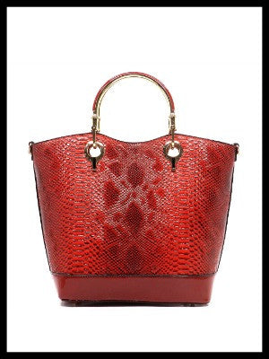 Python Top Handle Tote-Red