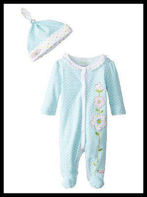 Newborn Flower Applique Coverall / Hat