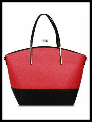 Color Block Day Tote-Red Coral