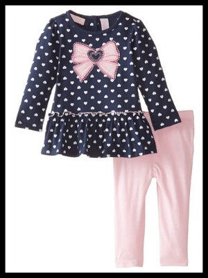 Navy Heart Print Tunic with Pink Leggings