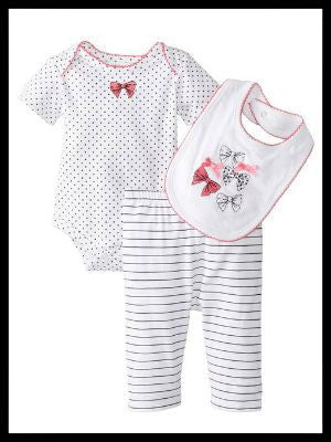 Baby-Girls Newborn Pant Set with Bib