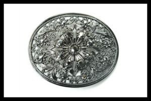 Rhinestone Flower Buckle-Black