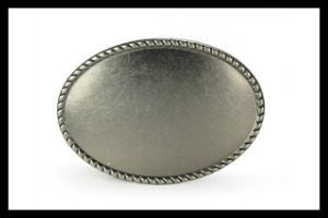 Oval Plain Metal Belt Buckle in Antique Silver