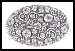 Rhinestone Belt Buckle With Engraved Flower Design
