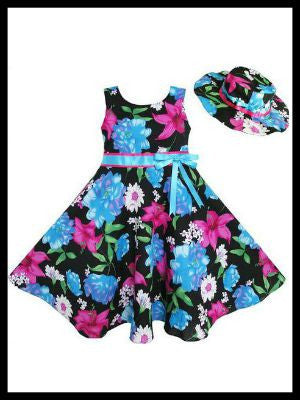 Girls Satin Bow Flowered Dress and Hat