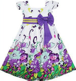 Girls Short Sleeve Flowered Bow Dress