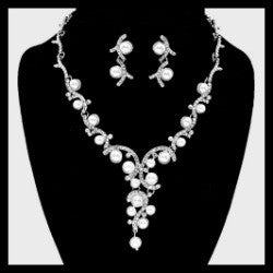 Pearl Vine Crystal Necklace Set